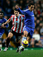 Photo: Tom Dulat/Sportsbeat Images.<br /> <br /> Chelsea v Sunderland. The FA Barclays Premiership. 08/12/2007.<br /> <br /> Sunderland's Ross Wallace pushes to the ground Chelsea's Juliano Belletti for which is booked.