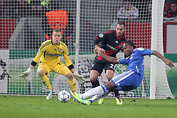 23.11.2011, BayArena, Leverkusen, Germany, UEFA CL, Gruppe E, Bayer 04 Leverkusen (GER) vs Chelsea FC (ENG), im Bild Didier Drogba (Chelsea #11) trifft gegen Ömer Toprak (Leverkusen #21) und Bernd Leno (Torwart Leverkusen/Leihe aus Stuttgart) zum 0:1 // during the football match of UEFA Champions league, group E, between Bayer Leverkusen (GER) and FC Chelsea (ENG) at BayArena, Leverkusen, Germany on 2011/11/23.EXPA Pictures © 2011, PhotoCredit: EXPA/ nph/ Mueller..***** ATTENTION - OUT OF GER, CRO *****