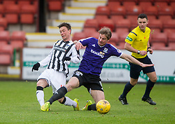 Dunfermline's Joe Cardle tackled by Ayr United's Jamie Adams. <br /> Dunfermline 3 v 2 Ayr United, Scottish League One played at East End Park, 13/2/2016.