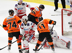 01.01.2020, Merkur Eisstadion, Graz, AUT, EBEL, Moser Medical Graz 99ers vs EC KAC, 34. Runde, im Bild von links Daniel Oberkofler (Moser Medical Graz 99ers), Johannes Bischofberger (EC KAC), Martin Schumnig (EC KAC), Ken Ograjensek (Moser Medical Graz 99ers), Travis Oleksuk (Moser Medical Graz 99ers) und David Madlener (EC KAC) // from l to r Daniel Oberkofler (Moser Medical Graz 99ers) Johannes Bischofberger (EC KAC) Martin Schumnig (EC KAC) Ken Ograjensek (Moser Medical Graz 99ers) Travis Oleksuk (Moser Medical Graz 99ers) and David Madlener (EC KAC) during the Erste Bank Eishockey League 34th round match between Moser Medical Graz 99ers and EC KAC at the Merkur Eisstadion in Graz, Austria on 2020/01/01. EXPA Pictures © 2019, PhotoCredit: EXPA/ Erwin Scheriau