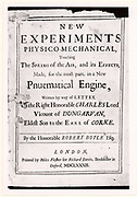 Title page of the third edition of 'New Experiments Physico-Mechanical, touching The Spring of the Air' by Robert Boyle (London, 1682).  Robert Boyle (1627-91) Irish born chemist and physicist.Pneumatics