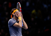 Tennis - 2019 Nitto ATP Finals at The O2 - Day Seven<br /> <br /> Semi Finals: Dominic Thiem (Austria) Vs. Alexander Zverev (Germany)<br /> <br /> Dominic Thiem (Austria) gets emotional as he reaches the Nitto ATP Final after winning his semi final<br /> <br /> COLORSPORT/DANIEL BEARHAM<br /> <br /> COLORSPORT/DANIEL BEARHAM