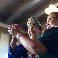 Miss Indian New Mexico Nicole Kahbah Johnny dances with her aunt Carlene Duncan during Johnny's appreciation ceremony held at Angela's Cafe in Gallup Saturday.
