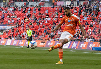 Blackpool's CJ Hamilton crosses <br /> <br /> Photographer Andrew Kearns/CameraSport<br /> <br /> The EFL Sky Bet League One Play-Off Final - Blackpool v Lincoln City - Sunday 30th May 2021 - Wembley Stadium - London<br /> <br /> World Copyright © 2021 CameraSport. All rights reserved. 43 Linden Ave. Countesthorpe. Leicester. England. LE8 5PG - Tel: +44 (0) 116 277 4147 - admin@camerasport.com - www.camerasport.com