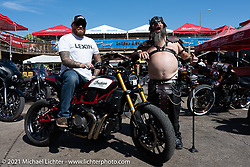 Seth Bowman with his custom FTR in the Dennis Kirk Garage Build bike show at the Iron Horse Saloon during the Sturgis Motorcycle Rally. Seth runs the FTR1200owners and Chiefowners social media pages. SD, USA. Tuesday, August 10, 2021. Photography ©2021 Michael Lichter.