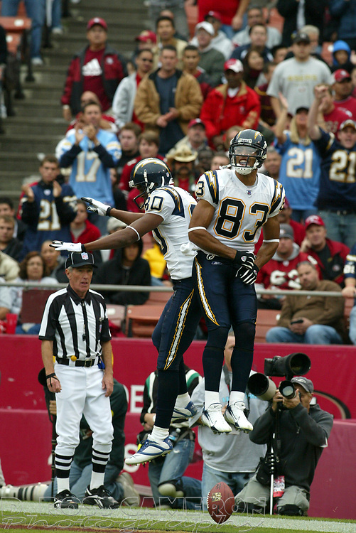 San Diego Chargers receivers Malcom Floyd (80) and Vincent Jackson (83) celebrate Jackson's touchdown reception against the San Francisco 49ers in the second quarter of an NFL football game, Sunday, Oct. 15, 2006 in San Francisco. The Chargers won, 48-19. (D. Ross Cameron/The Oakland Tribune)