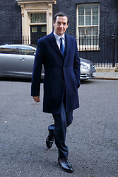 © Licensed to London News Pictures. 24/02/2016. London, UK. Chancellor of Exchequer GEORGE OSBORNE leaving Downing Street to attend Prime Minister's Question Time in London on 24 February 2016. Photo credit: Tolga Akmen/LNP