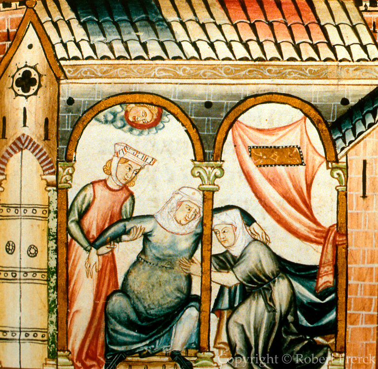 SPAIN, MIDDLE AGES, EL ESCORIAL 13thC Cantigas illuminated poems created for Alfonso X of Castile shows pregnant woman and attandents