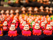 30 NOVEMBER 2014 - LOPBURI, LOPBURI, THAILAND:  Monkey key chains for sale in Lopburi. Lopburi is the capital of Lopburi province and is about 180 kilometers from Bangkok. Lopburi is home to thousands of Long Tailed Macaque monkeys. A regular sized adult is 38 to 55cm long and its tail is typically 40 to 65cm. Male macaques weigh around 5 to 9 kilos, females weigh approximately 3 to 6 kg. The Monkey Buffet was started in the 1980s by a local business man who owned a hotel and wanted to attract visitors to the provincial town. The annual event draws thousands of tourists to the town.   PHOTO BY JACK KURTZ
