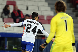 December 5, 2017 - Lisbon, Portugal - Basel's midfielder Mohamed Elyounoussi from Norway celebrates after scoring a goal during the UEFA Champions League Group A football match between SL Benfica and FC Basel at the Luz stadium in Lisbon, Portugal on December 5, 2017. Photo: Pedro Fiuza (Credit Image: © Pedro Fiuza via ZUMA Wire)