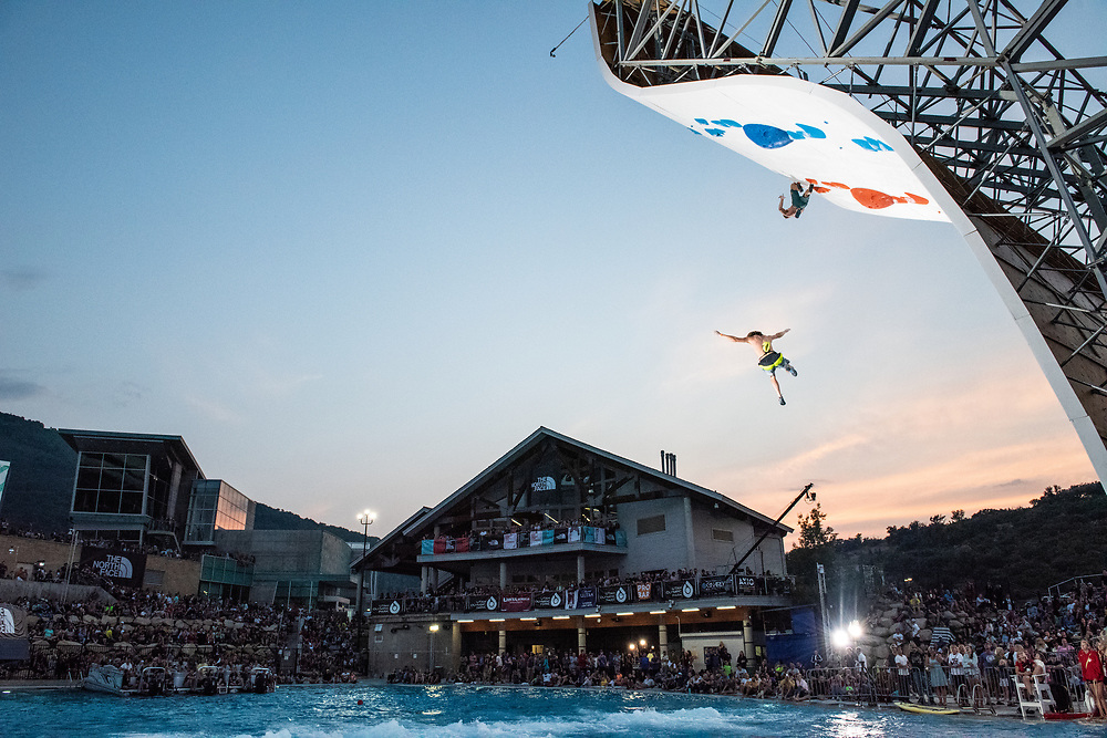 Nasty falls aren't common but they do occur. Event staff aerate the pool to break up the surface tension and lessen the impact of a fall, and lifeguards stand at the ready to rescue stunned climbers. Nobody was seriously injured at the comp.