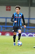 Haydon Roberts of Rochdale (15) runs with the ball during the EFL Sky Bet League 1 match between Rochdale and Wigan Athletic at the Crown Oil Arena, Rochdale, England on 16 January 2021.
