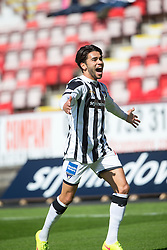 Dunfermline's Faissal El Bahktaoui cele scoring their second goal. <br /> Half time : Dunfermline 4 v 0 Cowdenbeath, SPFL Ladbrokes League Division One game played 15/8/2015 at East End Park.