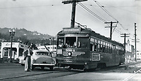 1953 Accident between a streetcar and a car
