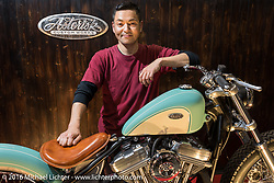 Asterisk Custom Works' Hideki Hoshikama with his custom 1998 Harley-Davidson 883 Sportster at the Mooneyes Yokohama Hot Rod & Custom Show. Yokohama, Japan. December 3, 2016.  Photography ©2016 Michael Lichter.