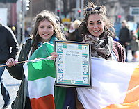 Cousins, Noelle Djennadi, left, and Claire Barea, from Carberry, Kildare pictured during the centenary Easter Rising Parade at Cuffe Street in Dublin. Picture credit; Damien Eagers 27/3/2016