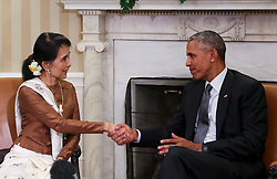 US President Barack Obama holds a bilateral meeting with State Counsellor Aung San Suu Kyi of Myanmar in the Ovale Office of the White House September 14, 2016, Washington, DC. Photo by Aude Guerrucci/ ABACAPRESS.COM