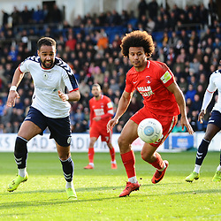 TELFORD COPYRIGHT MIKE SHERIDAN 23/3/2019 - Brendon Daniels of AFC Telford battles for the ball with Joe Widdowson of Orient during the FA Trophy Semi Final fixture between AFC Telford United and Leyton Orient at the New Bucks Head