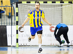 Luka Zvizej of RK Celje PL reacts during handball match between RK Celje Pivovarna Lasko and RK Gorenje Velenje in Eighth Final Round of Slovenian Cup 2015/16, on December 10, 2015 in Arena Zlatorog, Celje, Slovenia. Photo by Vid Ponikvar / Sportida
