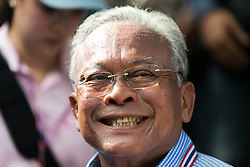 © Licensed to London News Pictures. 16/05/2014. PDRC leader Suthep Thaugsuban smiles during a rally outside Parliament in Bangkok Thailand where key senators were holding a meeting on May 16, 2014.  Photo credit : Asanka Brendon Ratnayake/LNP