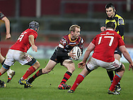 Sarel Pretorius © of the Newport Gwent Dragons in action.<br /> Guinness Pro12 rugby match, Munster v Newport Gwent Dragons at Thomond Park in Limerick , Ireland on Saturday 5th March 2016.<br /> pic by  John Halas, Andrew Orchard sports photography.
