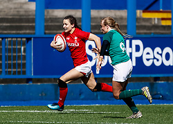 Jasmine Joyce of Wales makes a break<br /> <br /> Photographer Simon King/Replay Images<br /> <br /> Six Nations Round 5 - Wales Women v Ireland Women- Sunday 17th March 2019 - Cardiff Arms Park - Cardiff<br /> <br /> World Copyright © Replay Images . All rights reserved. info@replayimages.co.uk - http://replayimages.co.uk