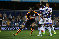 GOAL / CELE - Grant Hanley of Newcastle United shoots to score his sides sixth goal to make it 0-6.. EFL Skybet football league championship match, Queens Park Rangers v Newcastle Utd at Loftus Road Stadium in London on Tuesday 13th September 2016.<br /> pic by John Patrick Fletcher, Andrew Orchard sports photography.