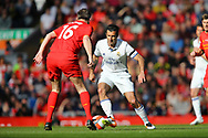 Luis Figo of Real Madrid legends team looks to go past Dietmar Hamann of Liverpool legends team. Liverpool Legends  v Real Madrid Legends, Charity match for the LFC Foundation at the Anfield stadium in Liverpool, Merseyside on Saturday 25th March 2017.<br /> pic by Chris Stading, Andrew Orchard sports photography.