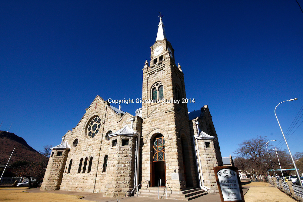 BURGERSDORP - 13 July 2014 - The Dutch Reformed Church in Burgersdorp seen here was inaugurated in December 2013. Building of the sandstone structure started in 1912 and replaced the previous church building that had existed since 1849.  It has seating capacity for 1200 people. The pulpit is teak and the framework of the organ is of Eastern oak. The congregation was established in 1846 and the same congreation was responsible for the establishment of the town, which was built on a farm bought by the Dutch Reformed Church. The building has been declared a national monument. Picture: Allied Picture Press/APP