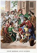 Christ and the little children. 'Whosoever shall not receive the kingdom of God as a little child, he shall not enter therein'.  'Bible' Mark 10.  Mid-19th century chromolithograph by Kronheim & Co.