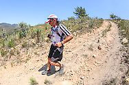 Fairview Wine and Cheese's Donald Mouton descends a particularly treacherous section of the Fairview Attakwas Trail's route.