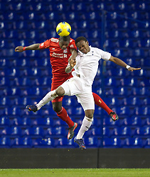 LONDON, ENGLAND - Wednesday, February 1, 2012: Liverpool's Stephen Sama in action against Tottenham Hotspur's Shaquile Coulthirst during the NextGen Series Quarter-Final match at White Hart Lane. (Pic by David Rawcliffe/Propaganda)