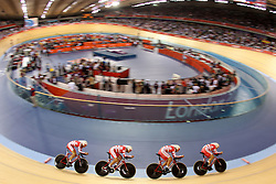 Team Denmark (Lasse Norman Hansen, Michael Morkov, Rasmus Christian Quaade and Casper von Folsach)  during the Men's team pursuit qualifying held at the Velodrome at Olympic Park in London as part of the London 2012 Olympics on the 2nd August 2012..Photo by Ron Gaunt/SPORTZPICS