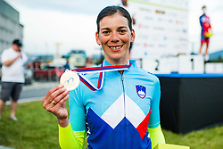Eugenija Bujak with golden medal and jersey for national champion at Sloveian Road Cycling Championship Time Trial 202, on June 17, 2021 in Koper, Slovenia. Photo by Grega Valancic / Sportida.