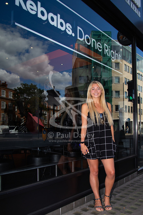 Social media star Kate Ovens takes on another eating challenge, consuming a huge Doner Kebab in an hour at German Doner Kebab in Fulham Broadway, West London. London, August 08 2018.