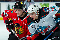 KELOWNA, BC - FEBRUARY 8: Jaydon Dureau #22 of the Portland Winterhawks faces-off against Ethan Ernst #19 of the Kelowna Rockets in second period at Prospera Place on February 8, 2020 in Kelowna, Canada. (Photo by Marissa Baecker/Shoot the Breeze)