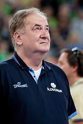Bozidar Maljkovic, head coach of Slovenia during last friendly match before Eurobasket 2013 between National teams of Slovenia and France on August 31, 2013 in SRC Stozice, Ljubljana, Slovenia. (Photo by Urban Urbanc / Sportida.com)