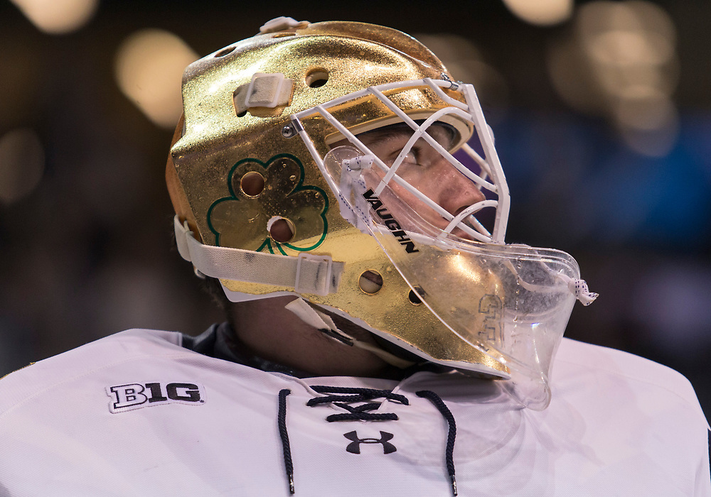 March 08, 2019:  Notre Dame goaltender Cale Morris (32) during NCAA Hockey game action between the Michigan State Spartans and the Notre Dame Fighting Irish at Compton Family Ice Arena in South Bend, Indiana.  Notre Dame defeated Michigan State 1-0.  John Mersits/CSM