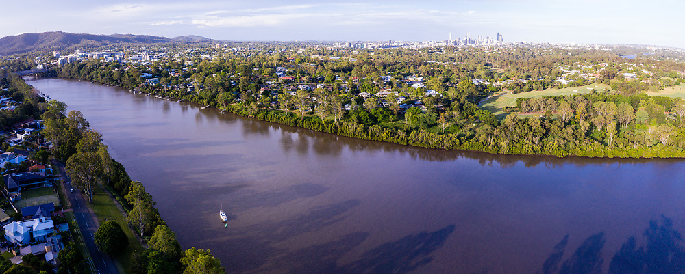 Panoramic aerial view of Indooroopilly Golf Course and the Brisbane River, Brisbane, Queensland, Australia