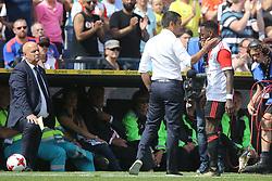 coach Giovanni van Bronckhorst, Ridgeciano Haps of Feyenoord during the Dutch Eredivisie match between Feyenoord Rotterdam and Willem II Tilburg at the Kuip on August 27, 2017 in Rotterdam, The Netherlands