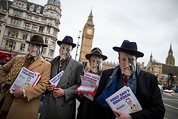 © Licensed to London News Pictures. 19/02/2016. London, UK. Leave.EU and the Democracy Movement protestors wearing David Cameron masks, dressed as 'Dodgy Dave' gather near Parliament and Downing Street as the Prime Minister David Cameron seeks reform of the United Kingdom's EU membership. Photo credit: Peter Macdiarmid/LNP