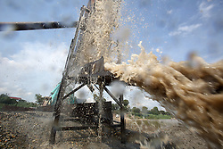 Sand extracted as a business or trade that is used for construction, from the Mekong River, Bolikhamsay Province Lao PDR.