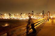 Fishing On Newport Pier At Night