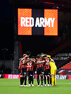 The Bournemouth players huddle before kick off during the EFL Cup match between Bournemouth and Crystal Palace at the Vitality Stadium, Bournemouth, England on 15 September 2020.