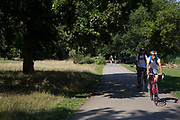 "Friends out cycling. Hampstead Heath (locally known as ""the Heath"") is a large, ancient London park, covering 320 hectares (790 acres). This grassy public space is one of the highest points in London, running from Hampstead to Highgate. The Heath is rambling and hilly, embracing ponds, recent and ancient woodlands."