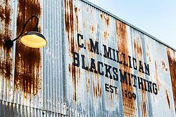 C.M. Millican Blacksmithing Shop at Cotton Belt Railroad Depot, Grapevine, Texas USA