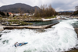 An athlete competes during the Canoe Single (C1) Women race in Semifinal of European Open Canoe Slalom Cup on April 18, 2021 in Tacen, Ljubljana, Slovenia. Photo by Vid Ponikvar / Sportida