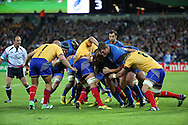 A French rolling maul during the Rugby World Cup Pool D match between France and Romania at the Queen Elizabeth II Olympic Park, London, United Kingdom on 23 September 2015. Photo by Matthew Redman.
