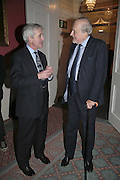 HUGO VICKERS AND CLAUS VON BULOW, Literary Review's Bad Sex In Fiction Prize.  In & Out Club (The Naval & Military Club), 4 St James's Square, London, SW1, 29 November 2006. <br />Ceremony honouring author who writes about sex in a 'redundant, perfunctory, unconvincing and embarrassing way'. ONE TIME USE ONLY - DO NOT ARCHIVE  © Copyright Photograph by Dafydd Jones 248 CLAPHAM PARK RD. LONDON SW90PZ.  Tel 020 7733 0108 www.dafjones.com