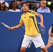 DOMINIC THIEM hits a forehand during his second round match at the Citi Open at the Rock Creek Park Tennis Center in Washington, D.C.